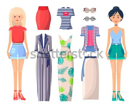 Set of Women in modern Summer Mode Fashionable Stock photo © robuart