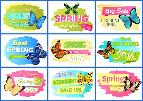 Best Spring Sale Posters Set Vector Illustration Stock photo © robuart