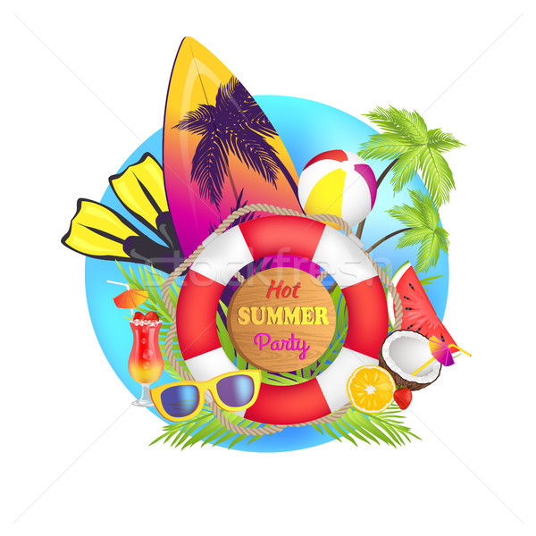 Hot Summer Party Poster Text Vector Illustration Stock photo © robuart