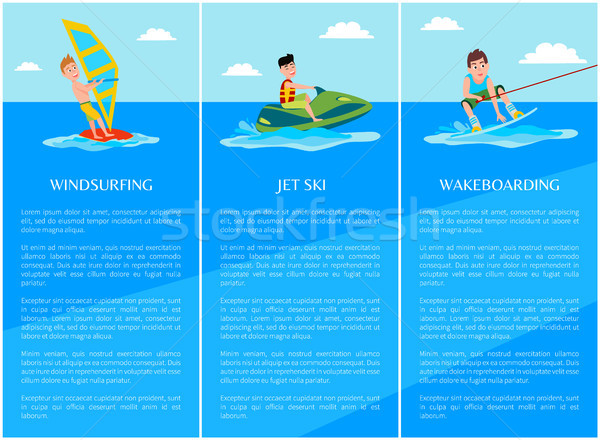 Het windsurfen water sport jetski collectie posters Stockfoto © robuart