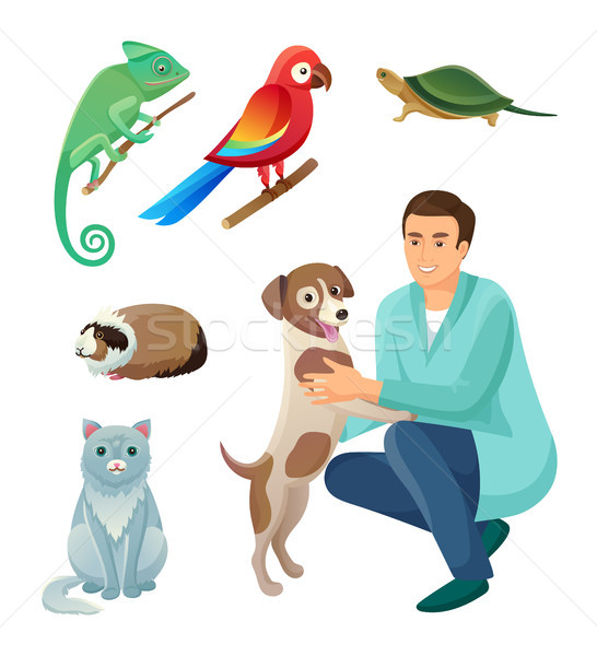 Veterinarian in Robe with Dog and Exotic Pets Set Stock photo © robuart