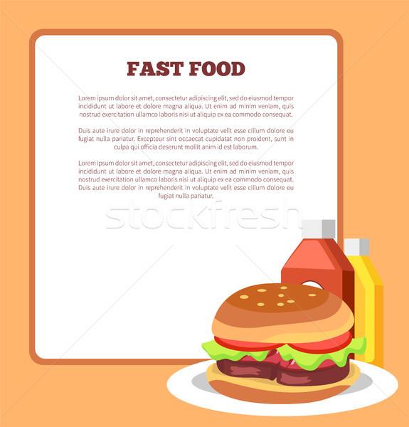 Fast food poster hamburger tekst monster opschrift Stockfoto © robuart
