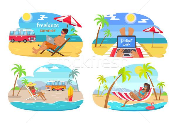 Freelance Summer Distant Work Vector Illustration Stock photo © robuart
