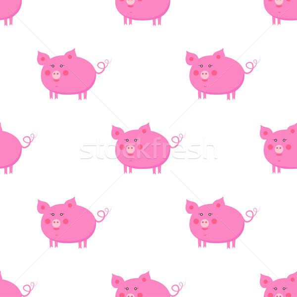 Cute Piggy Flat Vector Seamless Pattern Stock photo © robuart
