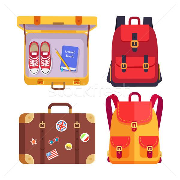 Reise Buch Gepäck Set Gepäck dekoriert Stock foto © robuart