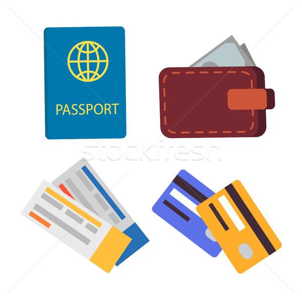 Passaporte globo assinar conjunto internacional conexão Foto stock © robuart
