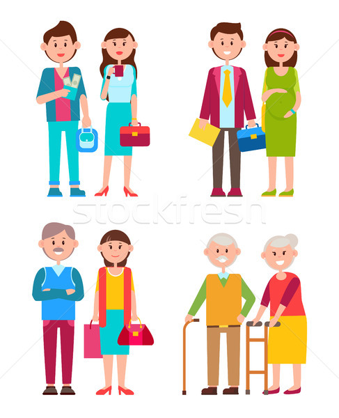 Couples Set of Different Ages Vector Illustration Stock photo © robuart