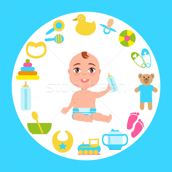 Toddler Infant in Diaper with Milk Bottle at Frame Stock photo © robuart
