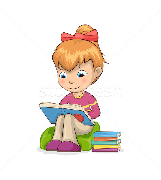 девушки сидят чтение книгах кресло внимательный Сток-фото © robuart