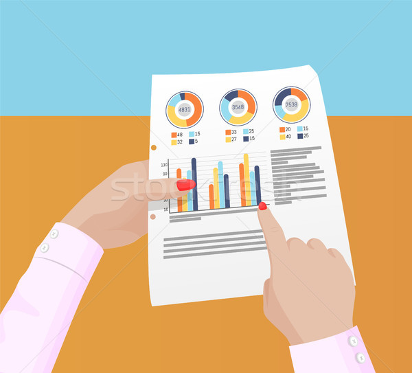 Estatística dados feminino mãos cartaz Foto stock © robuart