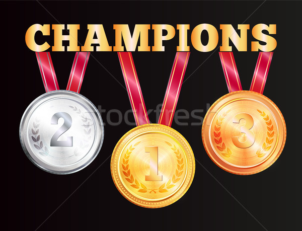 Champions Medals Isolated on Black Background Stock photo © robuart