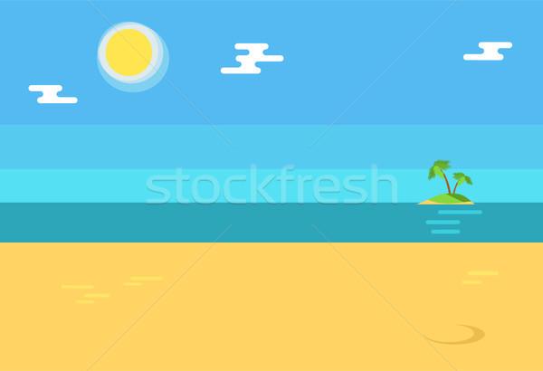 Summertime Background with Seashore, Island Palms Stock photo © robuart