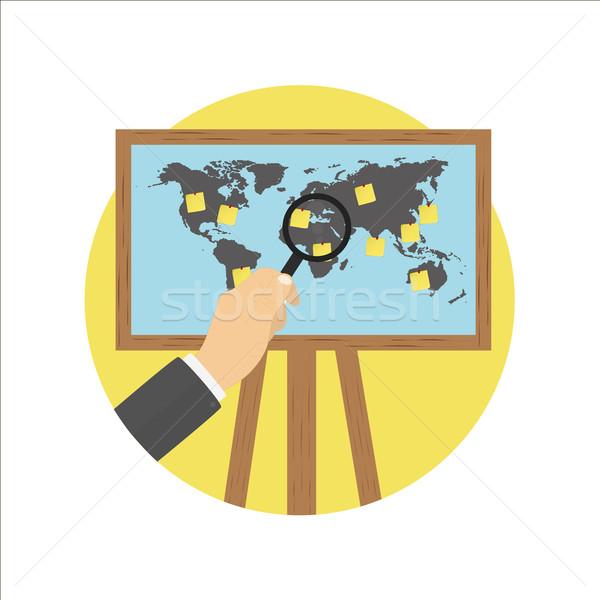 Projektor képernyő térkép állvány világ jegyzet Stock fotó © robuart