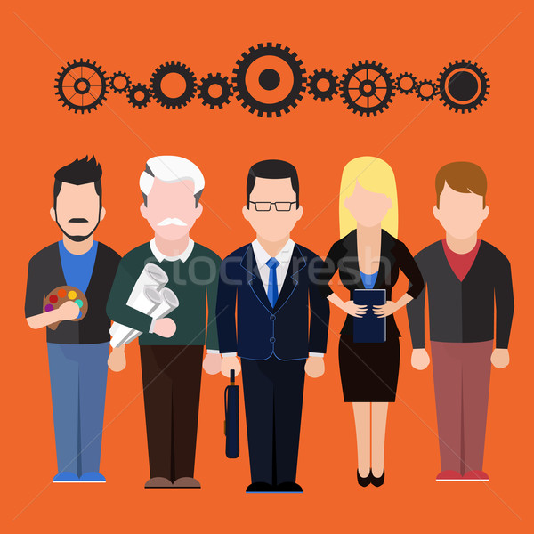 Set characters silhouettes of people different professions Stock photo © robuart