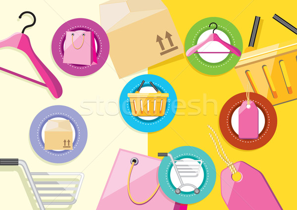 Shopping icons store elements bag tag hanger trolley lable Stock photo © robuart