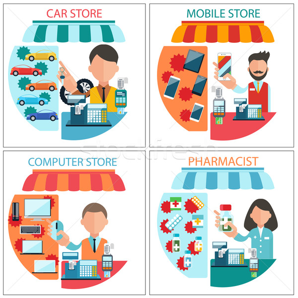 Car, mobile, pharmacist and computer store  Stock photo © robuart