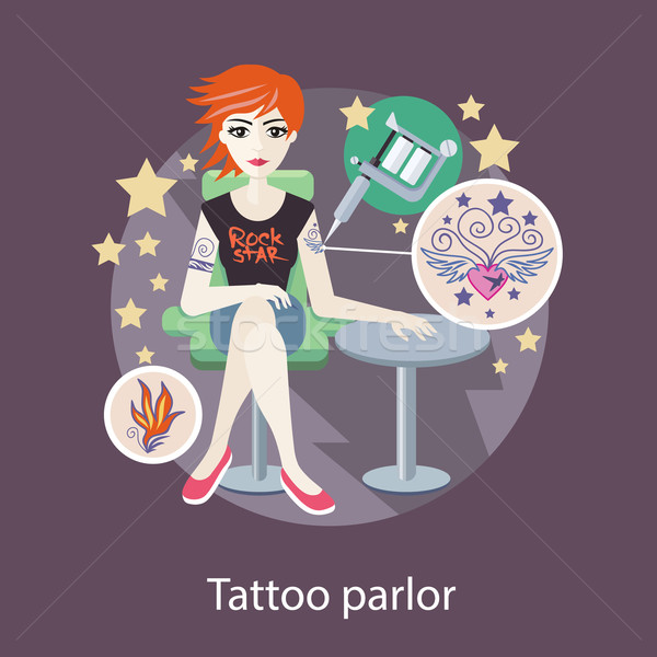 Tattoo Parlor Flat Style Design Stock photo © robuart