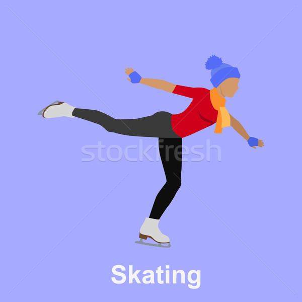 Ludzi skating stylu projektu łyżwiarstwo łyżwiarstwo figurowe Zdjęcia stock © robuart
