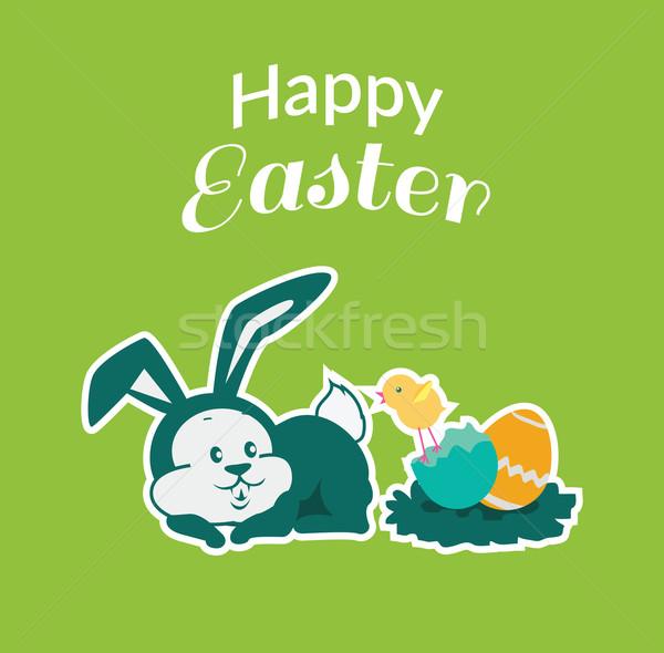 Pascua conejo icono huevo diseno Conejo de Pascua Foto stock © robuart