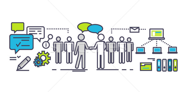 Stock photo: Flat Icon Concept of Business Partnership