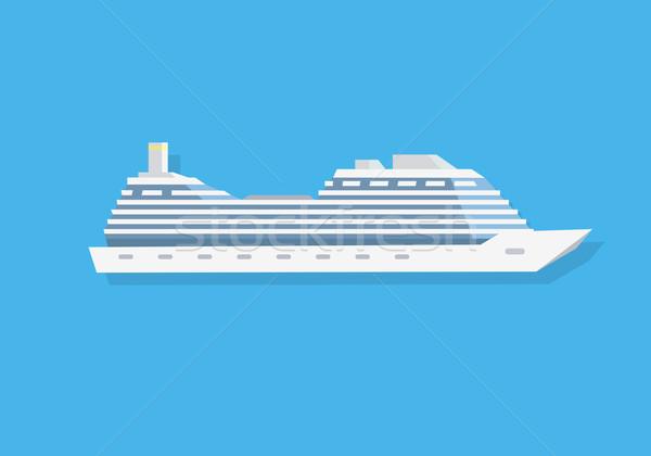 белый круиз лодка икона стиль изолированный Сток-фото © robuart