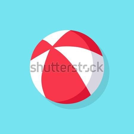 Kleurrijk strandbal Rood witte icon geïsoleerd Stockfoto © robuart