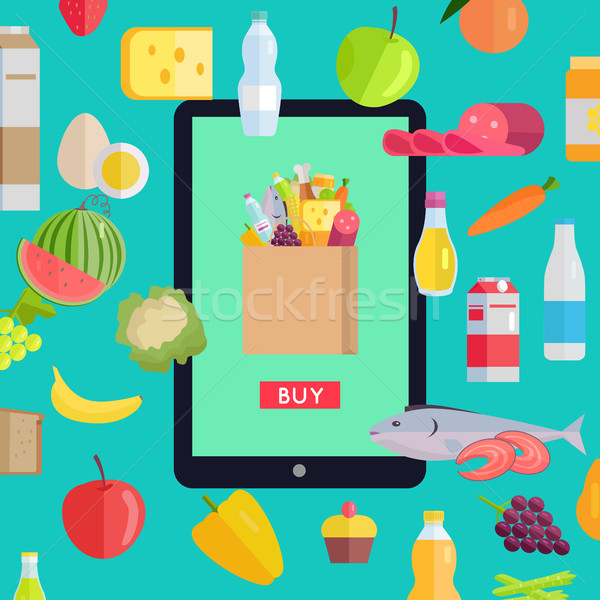 Online Food Market Concept Banner Illustration.  Stock photo © robuart