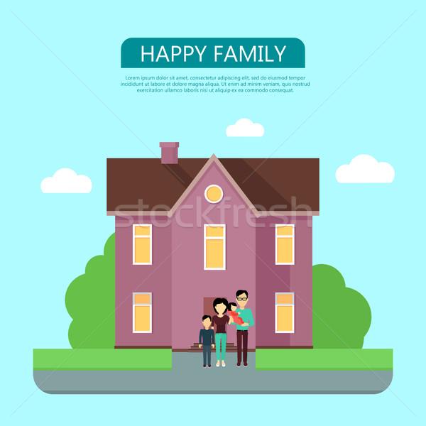 Familia feliz casa casa icono símbolo signo Foto stock © robuart