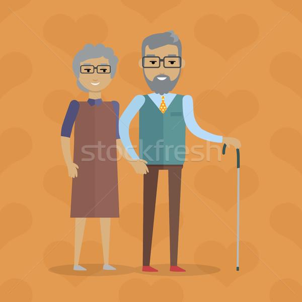Elderly Couple Vector Illustration in Flat Design Stock photo © robuart