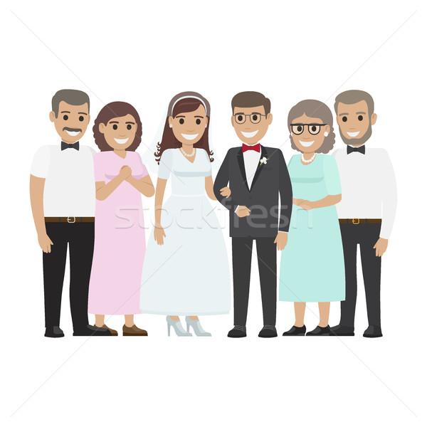 Düğün aile birlikte yeni evliler çift dizayn Stok fotoğraf © robuart