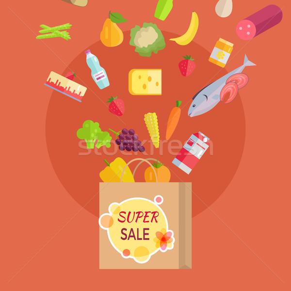 Wspaniały sprzedaży spożywczy banner torby papierowe żywności Zdjęcia stock © robuart