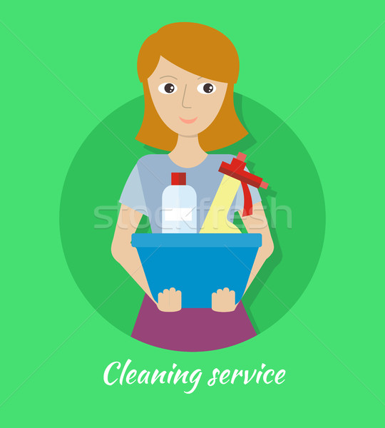 Member of the Cleaning Service with Glass Cleaner Stock photo © robuart