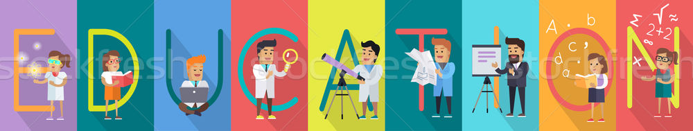 Education Alphabet Concept In Flat Style Design Stock photo © robuart
