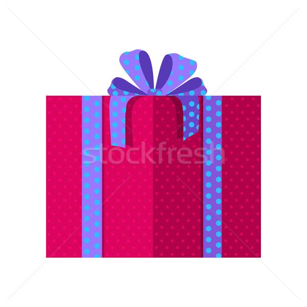 Rood geschenkdoos Blauw lint ontwerp mooie Stockfoto © robuart