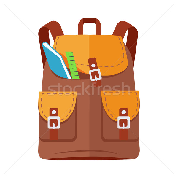 Brown Backpack Schoolbag Icon with Notebook Ruler Stock photo © robuart