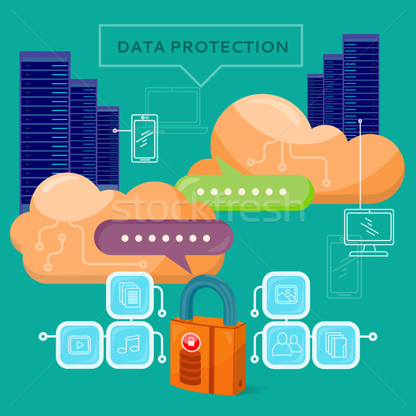 Data Protection Video Web Banner in Flat Style Stock photo © robuart