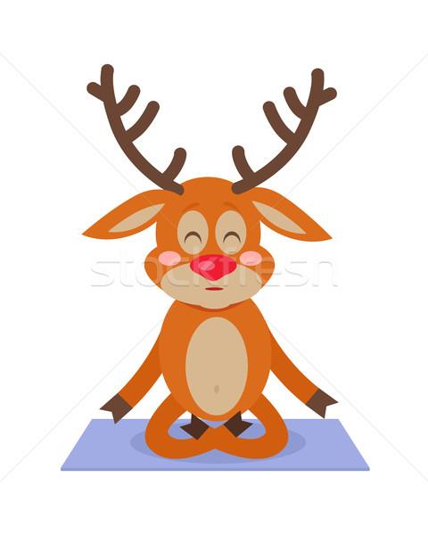 Deer Yoga Sitting on Carpet. Meditating Character Stock photo © robuart
