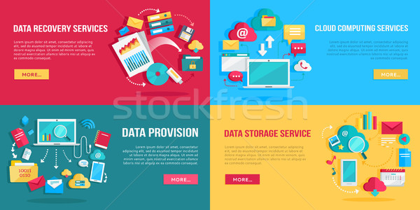 Data Services Banners Set Stock photo © robuart