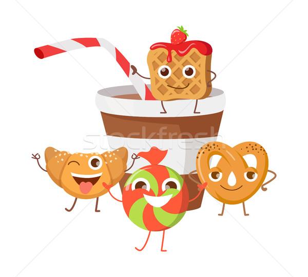 Bon Appetit. Funny Cartoon Characters Banner. Stock photo © robuart