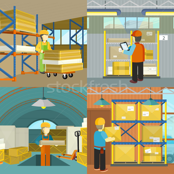 Set of warehouse workers characters at work vectors Stock photo © robuart