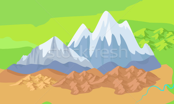 Asia Mountains on Map Significant Mountain Ranges Stock photo © robuart