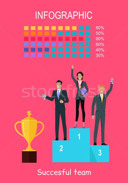 Başarılı takım afiş insanlar kazananlar podyum Stok fotoğraf © robuart