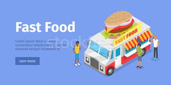 Street Fast Food Isometric Vector Concept Stock photo © robuart
