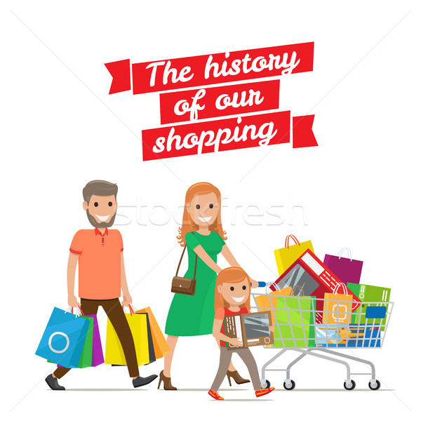 History of our Shopping. Family with Cart Set Stock photo © robuart