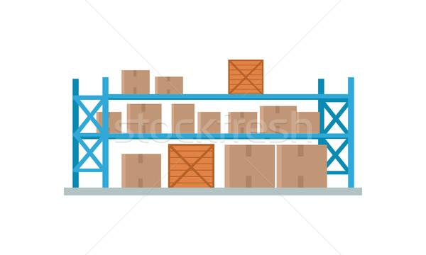 Világszerte raktár épület logisztika konténer szállítás Stock fotó © robuart