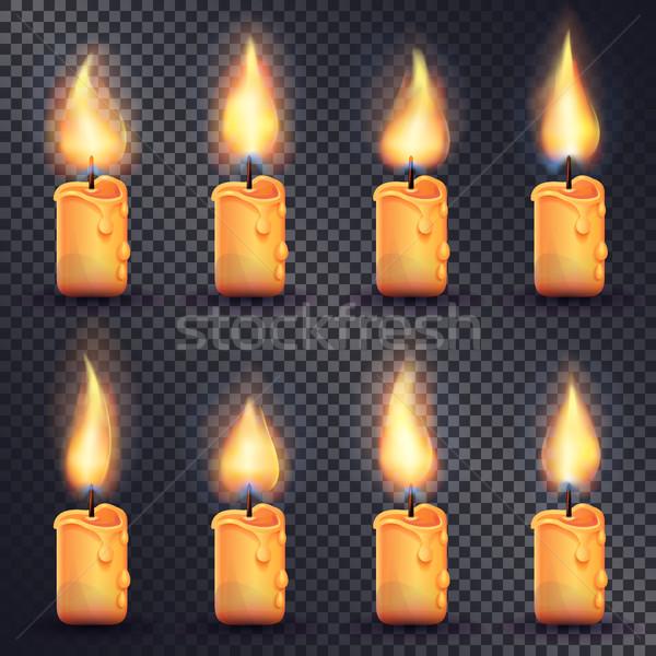 Velas fogo animação transparente coleção ícones Foto stock © robuart