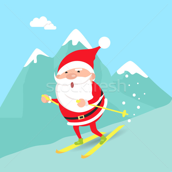 Santa Claus Moving down from Mountains. Winter Stock photo © robuart