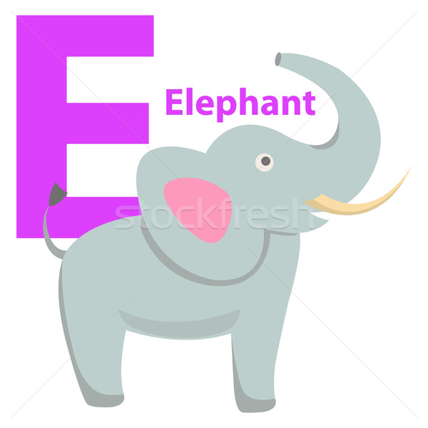 Enfants alphabet icône cartoon éléphant Photo stock © robuart