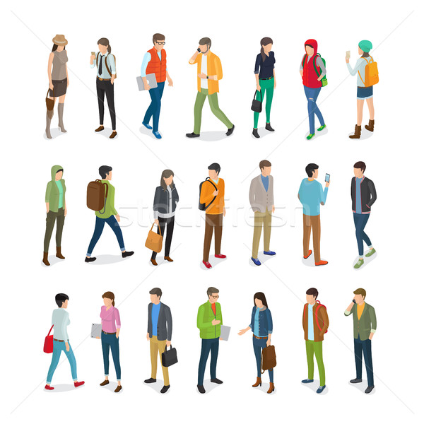 Teenagers Students Vector Flat Collection on White Stock photo © robuart