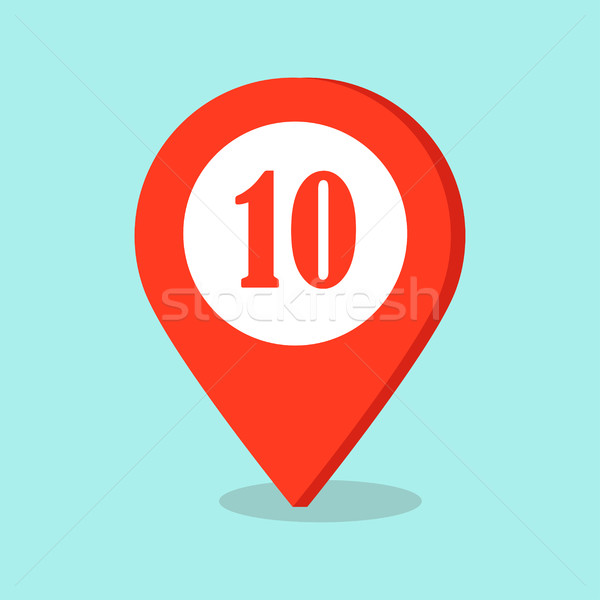 Map Pointer Location Icon with Number Ten Sign. Stock photo © robuart